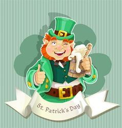 Cute fat Leprechaun with a pot of ale foam vector image