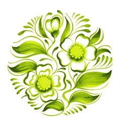 Decorative circle branch of green tea with flowers vector