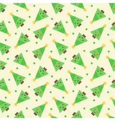 Emoji christmas trees seamless pattern background vector
