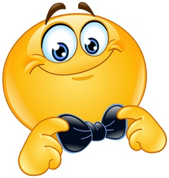 emoticon with bow tie vector image vector image
