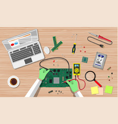 Engineer with multimeter check electronic board vector