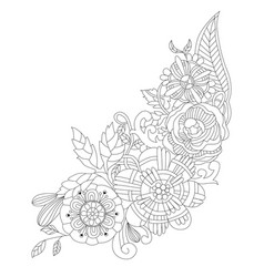 flowers for coloring book for adults vector image vector image