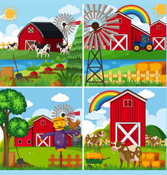 Four scenes with cows and barns vector