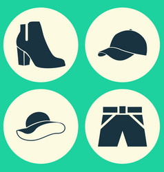 Garment icons set collection of trilby trunks vector