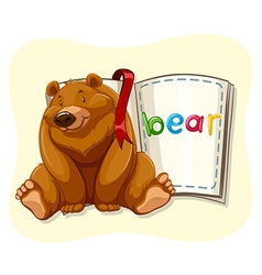 Grizzly bear and a book vector