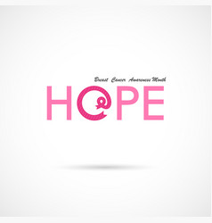 Hope word iconbreast cancer october awareness vector