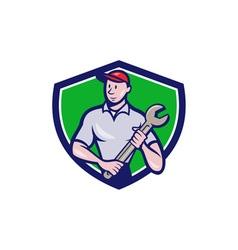 Mechanic Worker Standing Spanner Crest Cartoon vector image