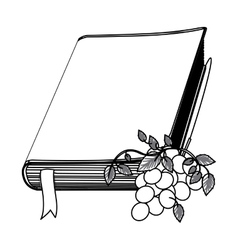 Monochrome contour with holy bible with ribbon and vector