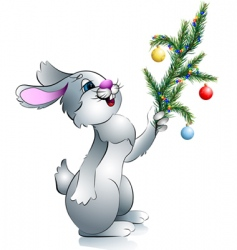 new years rabbit with branch vector image