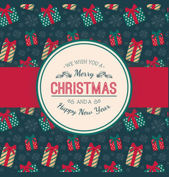 present boxes pattern and greeting text vector image