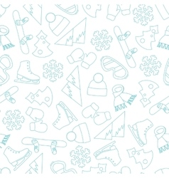 Seamless line pattern with winter elements vector image vector image