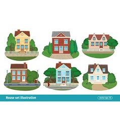 Set cottage and residential houses real estate vector