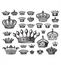 Set of antique crown engravings vector