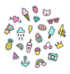 set of bright cute pins vector image vector image