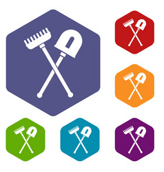 Shovel and rake icons set vector