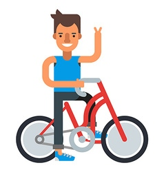 Smiling man with bycicle Flat isolated on white vector image