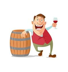 Winemaker tasting red wine vector