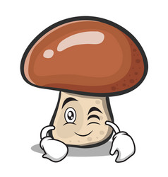 Wink mushroom character cartoon vector