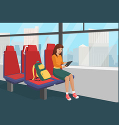 young woman with backpack browsing tablet in the vector image