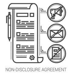 Non-disclosure agreement line icons vector