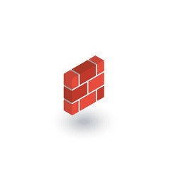 Brick wall isometric flat icon 3d vector