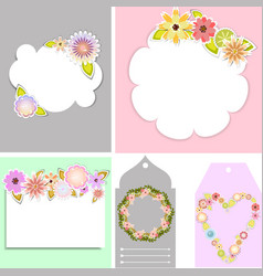 Set of beautiful templates for tags and cards vector