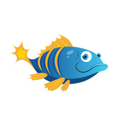 Blue fish with yellow stripes sea tropical vector