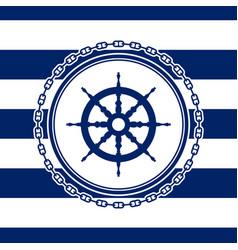 round marine emblem with ships wheel vector image