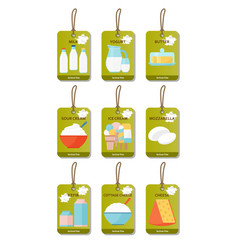 Dairy products flat set vector
