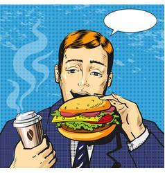Pop art of man eating burger vector