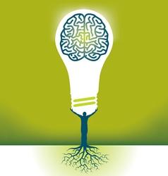 Hand Bulb Brain vector image