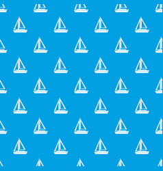 Small boat pattern seamless blue vector