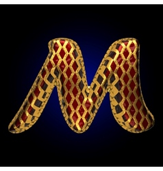 Golden and red letter m vector