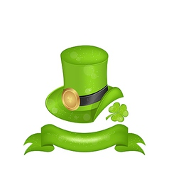 Green hat clover ribbon in saint patrick day - vector