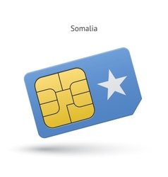 Somalia mobile phone sim card with flag vector