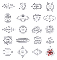 Set of hipster line emblems and signs vector