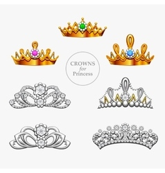 Seven crowns for a princess vector