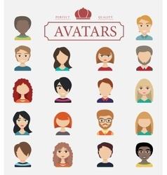 Set of avatars  flat icons vector