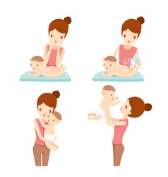 Mother and baby set vector