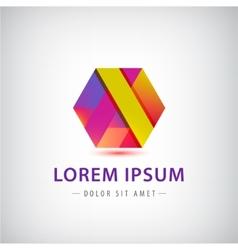 Abstract geometric colorful ribbon logo vector