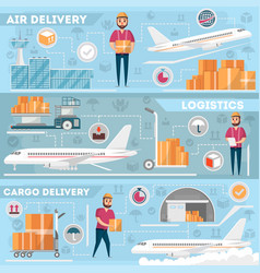 airport logistics and delivery management set vector image vector image