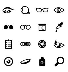 Black optometry icon set vector