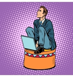 Businessman worker on a circus pedestal vector image