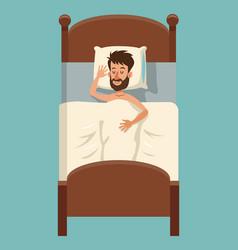 cartoon beard man sleep covered blanket in bed vector image vector image