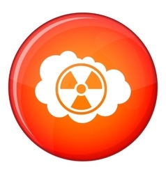 Cloud and radioactive sign icon flat style vector image