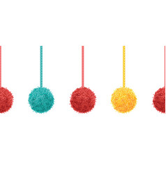 colorful decorative pompoms with ropes vector image vector image