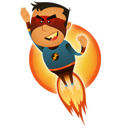Comic superhero blasting off vector
