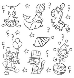 Doodle circus with clown and animal vector