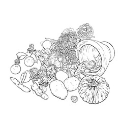 Drawing still life of food and vegetable vector