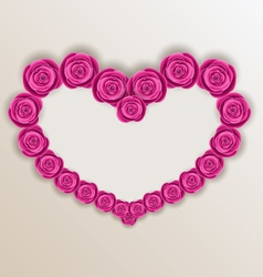 Elegant heart made in roses for Valentine Day copy vector image vector image